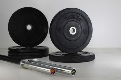 Kit Home Workout 02 Barras + 50kg De Bumper Plates